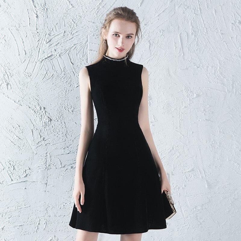 Ceewhy Sexy Little Black Dress Short Cocktail Dresses Velour Party