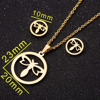 Yiustar Splendid Bowknot Hollow Pendant Necklace Jewelry SETS Sweet Golden Color Chain Necklace Earrings Sets Crystal Jewelry image