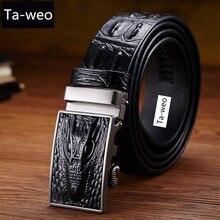 New Fashion Business Belt Men's Belts Luxury Genuine Leather Crocodile Striped Belt Men Designer Belts Men High Quality