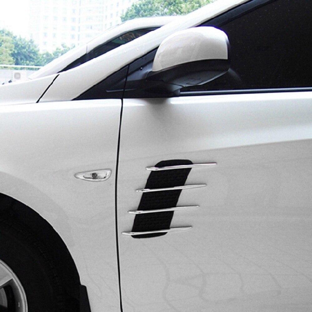 2 Pièces Capot De Voiture Side Vent Fender Air Net Porte stickers Auto Autocollant DIY Simulation de voiture requin branchies sortie souple + ABS plaqué