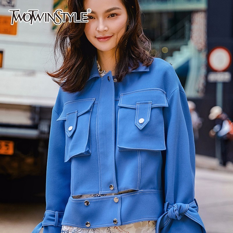 TWOTWINSTYLE Casual Female Jacket Patchwork Lace Up Bowknot Zipper Short Coat Tops Women Streetwear 2019 Autumn