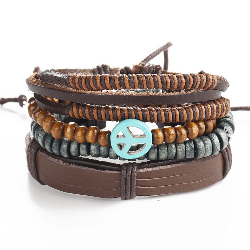 2016 1 set 3PCS Leather Bracelet Retro Men's Anchor Bracelet Punk Casual Men's Jewelry Bracelet Jewelry Accessories Female