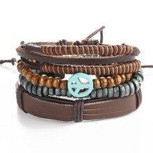 1 комплект 3 шт. кожаный браслет в стиле ретро мужской браслет с якорем панк повседневные мужские ювелирные изделия браслет ювелирные изделия аксессуары для женщин