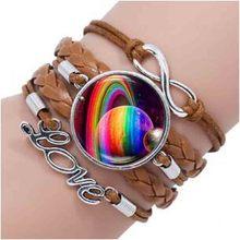 Homosexual Original Brown Leather Bracelet Rainbow Infinity Love Sign