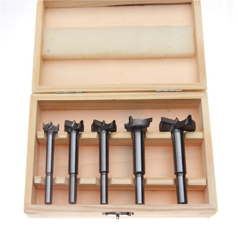 5pcs Flat Wing Hole Saw Wood Drilling Tools Forstner Hinge Hole Boring Cutter 15-35mm Woodworking Drill Bits Set with Woodbox 5pcs 15 20 25 30 35mm forstner drill bits hinge woodworking tools drill tips round shank boring hole saw wood set