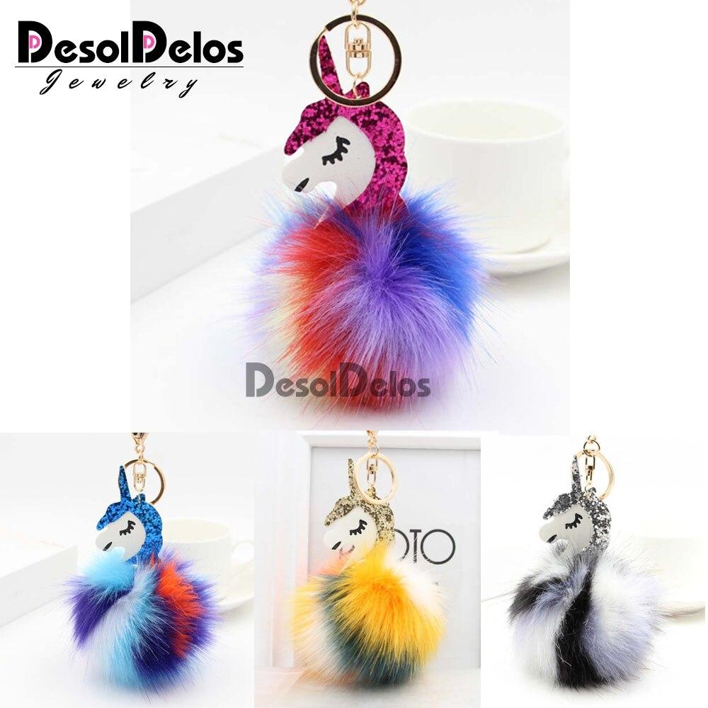 Pompom Unicorn Keychain Colorful Poms Fake Rabbit fur ball Fluffy Key Chain Horse porte clef Wome Bag Car Keyring llavero mujer