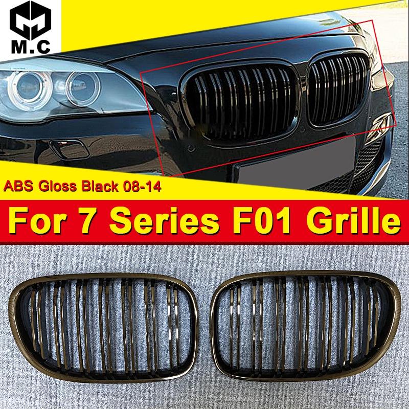 For BMW F01 Kidney Grill Grille ABS Gloss Black Twin Bar Slats 7 Series 740i 740Li 745i 750i 760Li Dual Slats Front grills 08 14|Racing Grills| |  - title=
