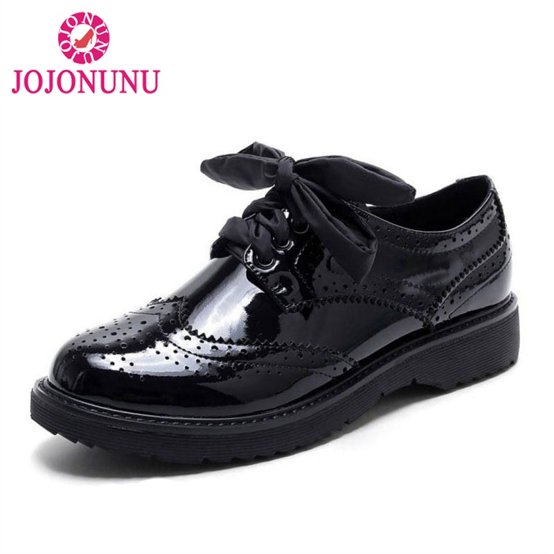 JOJONUNU Women Genuine Leather High Heel Shoes Women Lace Up Block Thick Heel Pumps British Style Women Footwears Size 34-41 2018 women top quatily genuine leather luxury pineapple heel design style single shoes pineapple print thick soled high heel