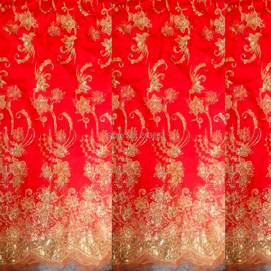 New Wedding Rim Red Textile Fabric Embroidered Fabric Sequins
