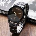 Cavalheiro Ternos Homens de Negócios Relógios de Pulso de Aço Inoxidável Banda Relógios de Quartzo Casuais Mulheres Preto Simples Relógio de Tempo