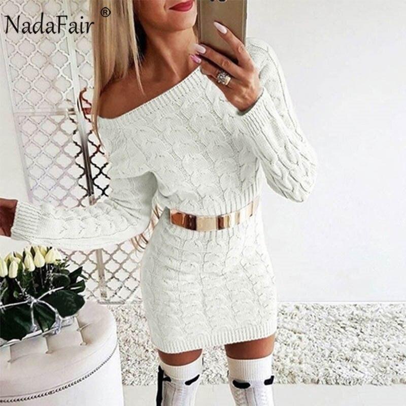 Nadafair Elegant Sweater Dress Women Wrap Casual Autumn Winter Dress Sexy Off Shoulder Twist Mini Bodycon Knitted Dress Jumper