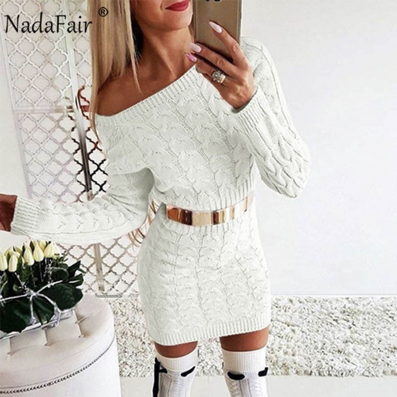 Nadafair Long Sleeven Warm Women Sweater Dress Knitted Sexy Off Shoulder Twist Casual Mini Bodycon Autumn Winter Dress Female