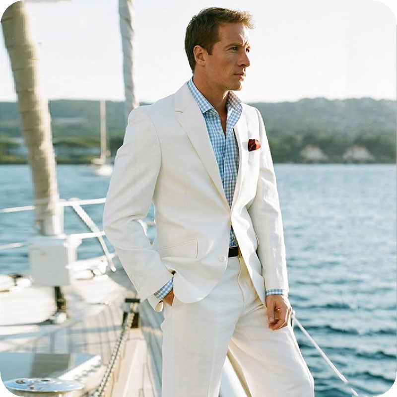 夏ベージュリネンの男性が結婚式ブレザー衣装ウエディングスリムフィットカジュアルテーラーメイドのタキシードベストマン 2 個 terno Masculino