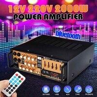 Audew 2000W Professional Power Amplifier bluetooth Stereo HIFI Audio USB SD Mic FM AC220V 240V Car Home Digital LED Display