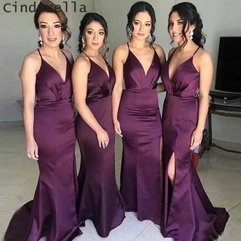 Cinderella Purple V-Neck Halter Mermaid Cournt Train Side Slit Backless Silk Satin Bridesmaid Dresses Wedding Party Gown