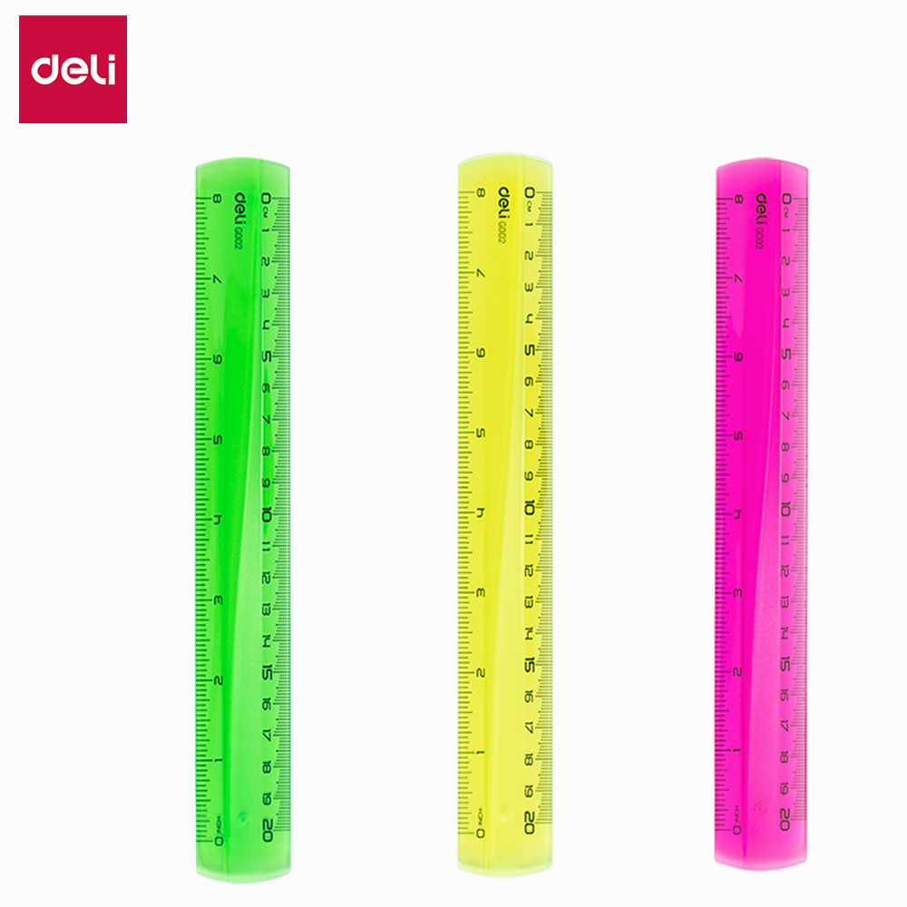 Deli PS Ruler Easy-grab 3PCS/LOT 20cm Translucent One Color Each EG00202