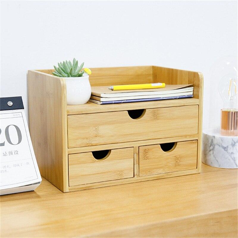 Boîte de rangement de décor domestique tiroir bois organisateur cosmétique tiroirs de maquillage bijoux papeterie boîtes de rangement d'admission - 2