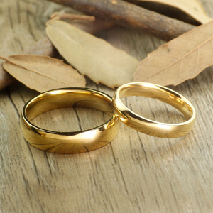 Classic Gold Color Tungsten Carbide Wedding Rings for Couple 6mm for Him 4mm for Her