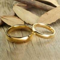 Klassische Gold Farbe Wolfram Hartmetall Hochzeit Ringe für Paar 6mm für Ihn 4mm für Sie