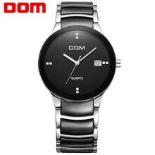 DOM 2016 Часы Старинные керамические diamond просмотрам люксовый бренд кварцевые часы повседневная полная сталь мужские спортивные часы T-729
