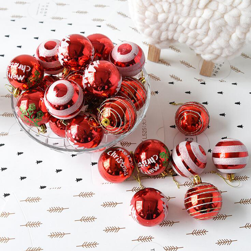 24 pcslot 6 cm plastic painted christmas balls christmas pendant christmas tree drop ornaments for festive party decoration in ball ornaments from home