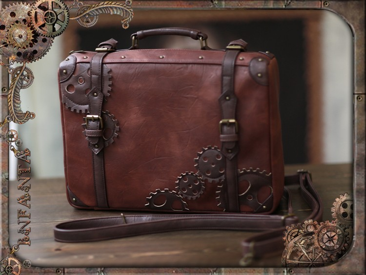 Retro Vintage Steampunk Style Lolita Handbag Brown Satchel Shoulder Bag with Gear Decor by Infanta Cosplay-in Crossbody Bags from Luggage & Bags    1