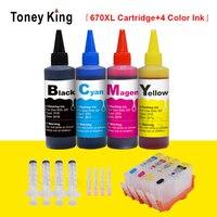 Toney king 670xl substituição para hp 670 xl cartucho de tinta para hp670 deskjet 4525 6520 6525 6625 impressora + 100ml tinta reenchimento kit Cartuchos de tinta     -