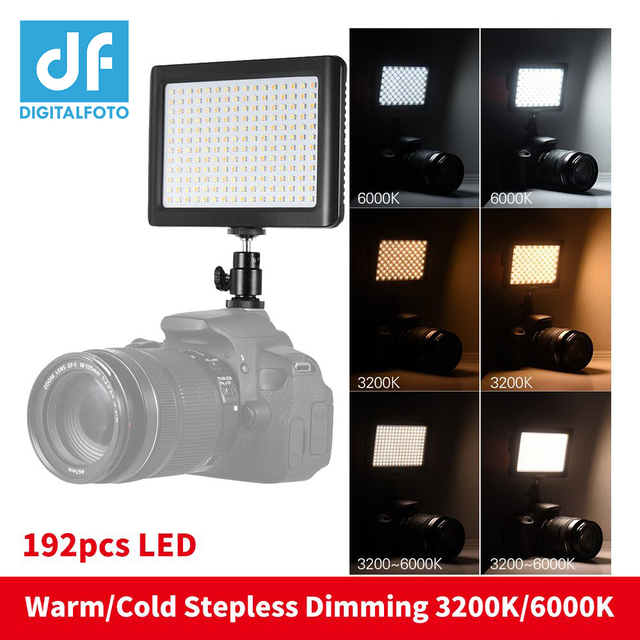 Studio Photography 192 LED Light 3200K-6000K with Stepless dimming Warm/Cold for Canon Nikon Sony Camcorder DV DSLR Youtube