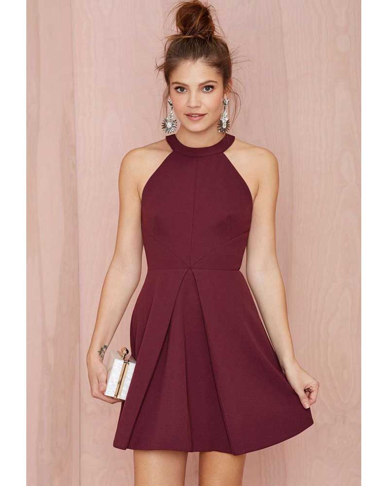New Arrival Halter Fashion Burgundy Dress Homecoming Dresses 2016 ...