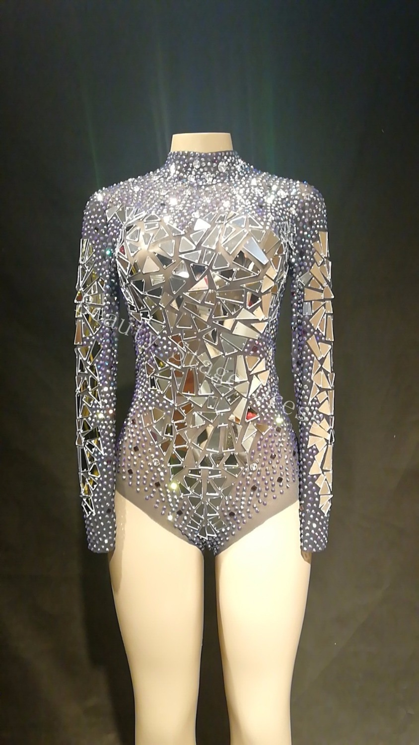2019 Sexy Transparent Net Costume Stage Dance Wear Mirrors Stones Mesh Bodysuit Leotard Dance Performance Costume