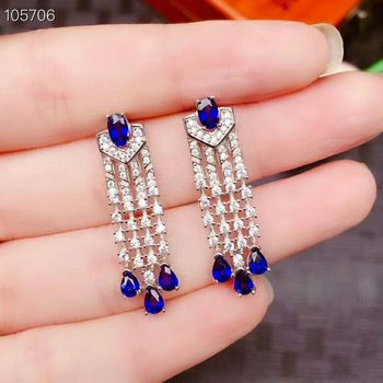 [MeiBaPJ]Luxury Sri Lanka Sapphire Gemstone Drop Earrings Real 925 Silver Fashion Earrings Fine Charm Jewelry for Women