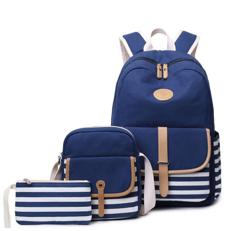 93758345ac8c 3Pcs/set Women Canvas School Backpacks College Schoolbag Fashion Plecak for  Teenager Girl And Boys Rucksack Moclila Shoulder Bag