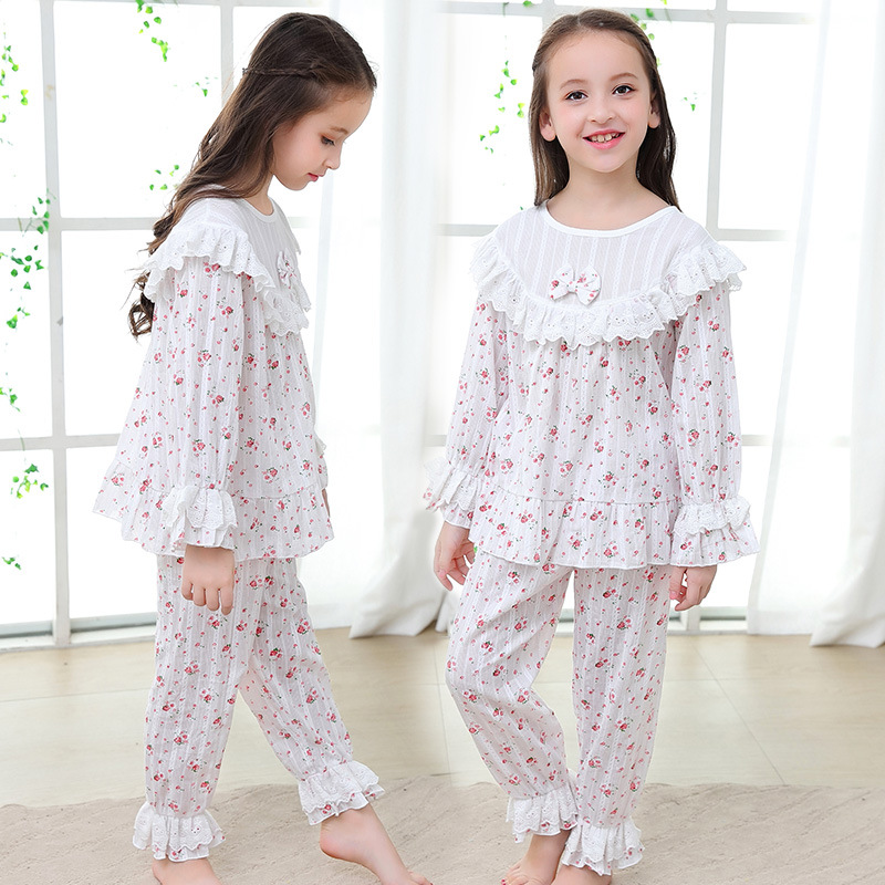 2019 Autumn sleepwear Kids Pajama Sets Girls Nightclothes Baby Pyjamas Long Sleeve Flare Sleeve Children Home Clothes 2Y-14Y