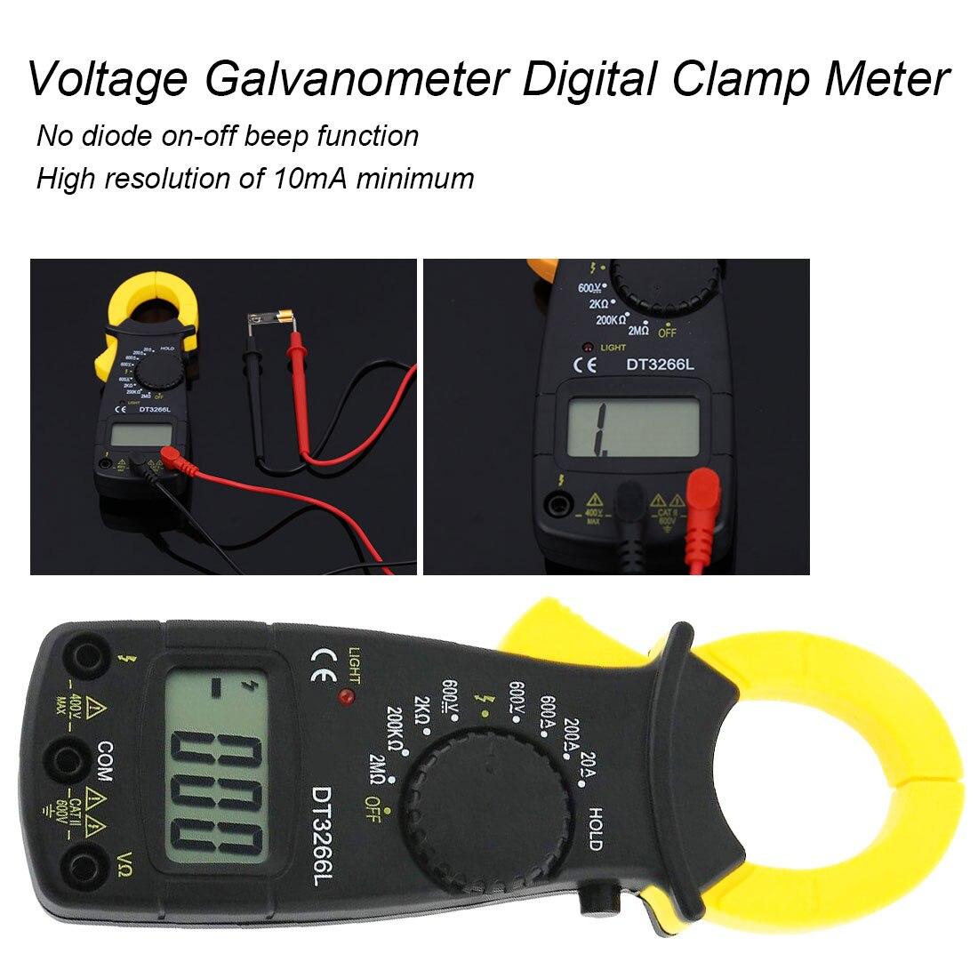 Digital Clamp Meter AC DC Multimeter Resistance Voltmeter Ammeter Ohm Current Voltage Tester DT3266L Hand-held Clamp Meter