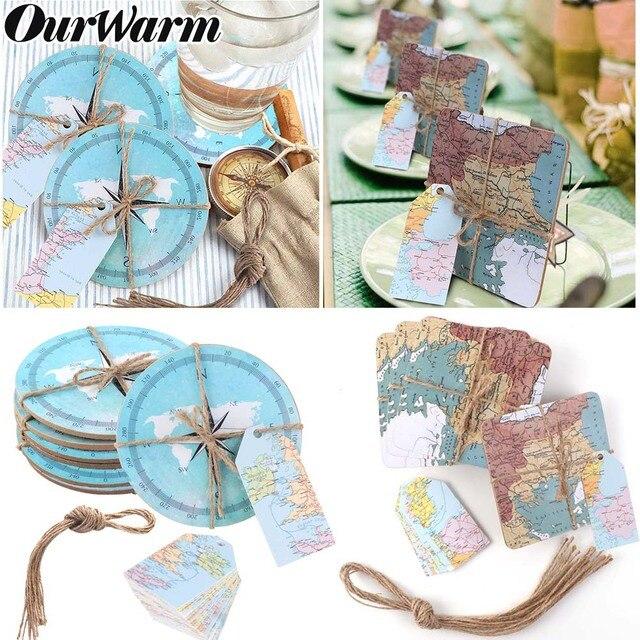 OurWarm 5 Pcs Bússola Náutico Mapas Do Mundo de Presentes de Casamento para Convidado Absorvente Coasters Da Cortiça com Tag de Viagem Do Tema Do Casamento Lembranças