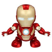 цена на Cool Dancing Iron Man Action Figure Toy dance light up Music Robot Iron Man Hero Electronic Toy for Children Baby Birthday Gift