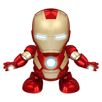 Cool Dancing Iron Man Action Figure Toy dance light up Music Robot Iron Man Hero Electronic Toy for Children Baby Birthday Gift