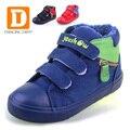 Inverno Quente Bota Crianças 2017 Marca Moda Algodão Macio Sólida Loop de gancho Esporte Meninos Flats Sneakers Crianças Sapatos de Neve do Tornozelo botas