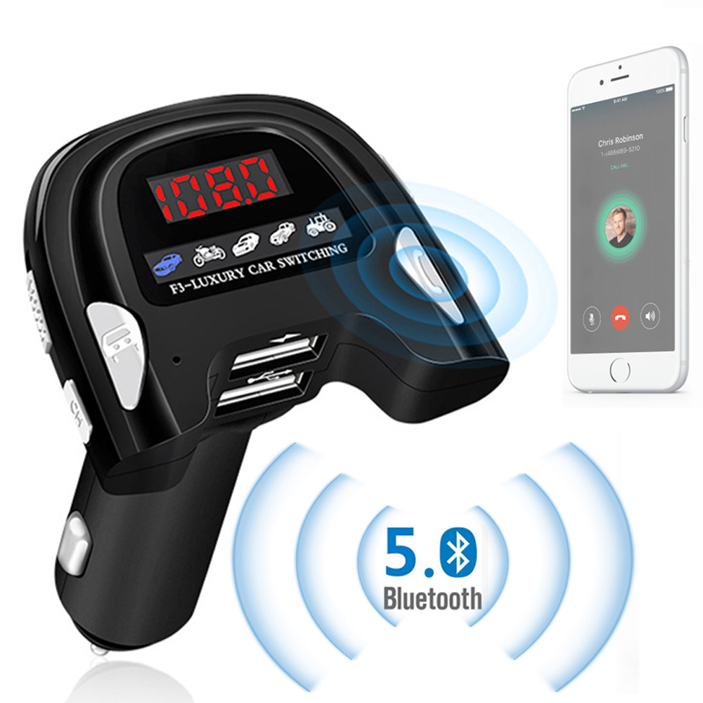 Car Charger for Mobile Phone Handsfree Bluetooth 5.0 FM Transmitter Car MP3 Player Sound Simulator Dual USB Car Phone Charger