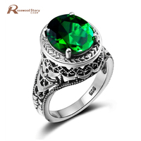 USA Alliance Green Stone Crystal Rings For Women Fashion Pure 925 Sterling Silver Jewelry Rose Round Ring Bachelorette Party
