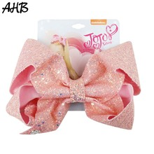 AHB 8 Inch Large JO Bows Girls Hair with Clips Shiny Sequin Bowknot Hairgrips Party Hairpins Kids Accessories