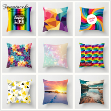 Fuwatacchi Candy Geometric Printed Cushion Cover Colorful Diamond Star Clear Image Throw Soft Decorative Sofa Pillow Case