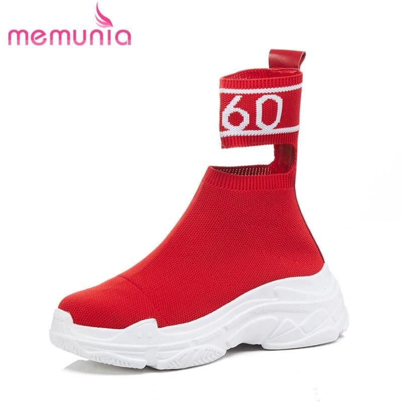 Chaussures Casual Memunia Mode Confortable Vente Bas Talons forme Chaude Femmes 2018 red Cheville Bottes Automne Hiver Plate Pour Black 54Lq3jAScR