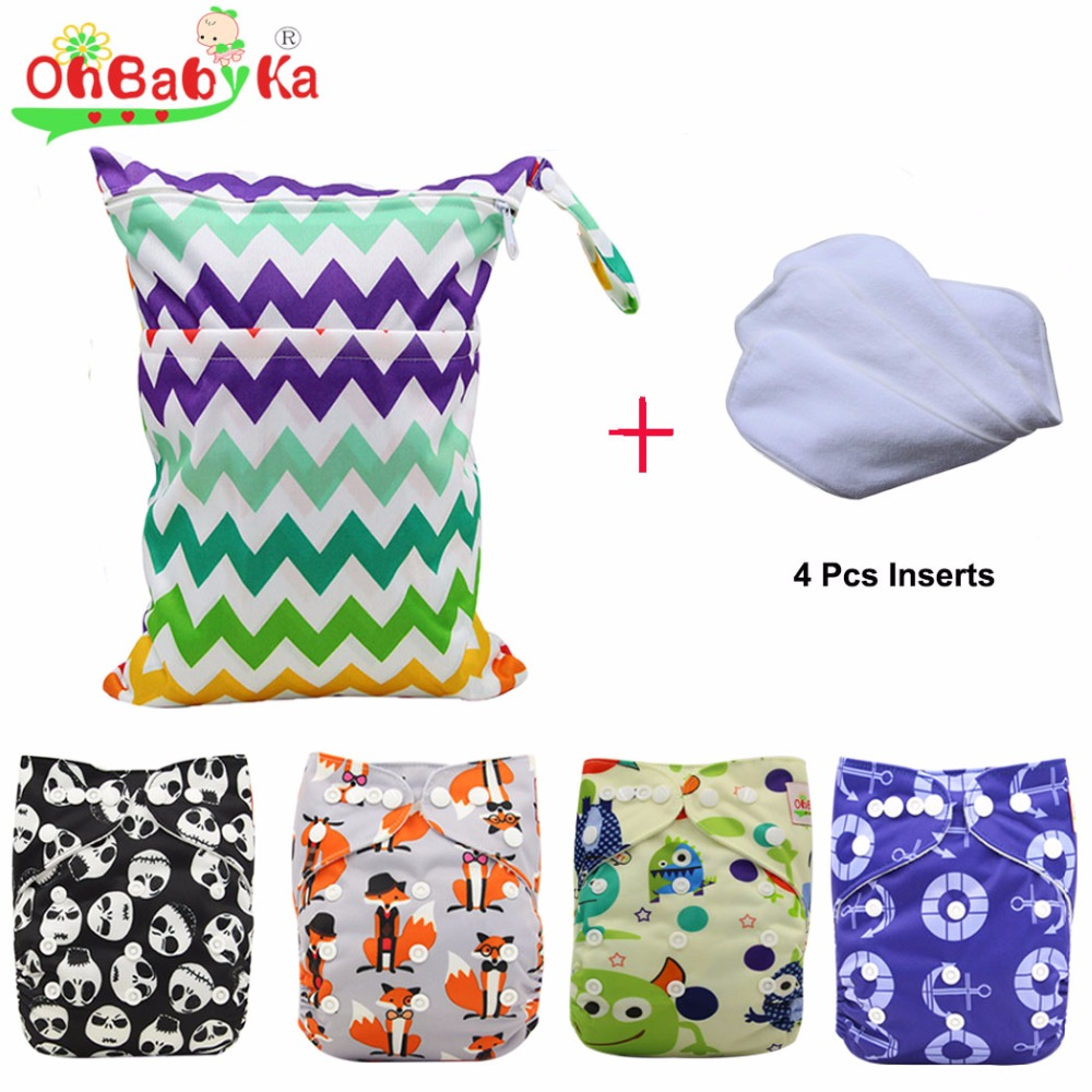 OhBabyKa Baby Cloth Diaper with New Design Printed Pack Sale 4pcs Diapers + 4Pcs Microfiber Insert+ 1pc Wet Nappy Bag Baby Care [mumsbest] baby cloth diapers nappy new pack sale 6pcs diaper 6pcs bamboo charocal insert 1pc wet nappy bag baby care pack