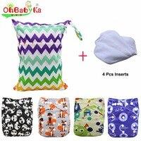 OhBabyKa Bambino Pannolino Del Panno con Nuovo Disegno Stampato Confezione di Vendita 4 pz pannolini + 4 Pz Inserti In Microfibra + 1 pz Wet Nappy Bag Baby Care