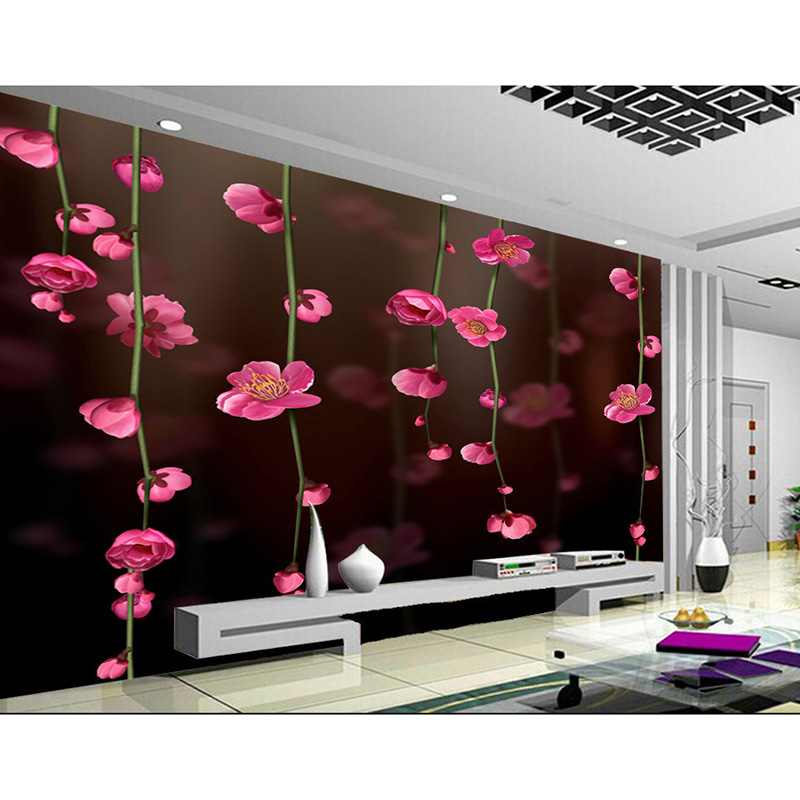 Any size 3d pink flowers wall mural wallpapers for living for Pink living room wallpaper