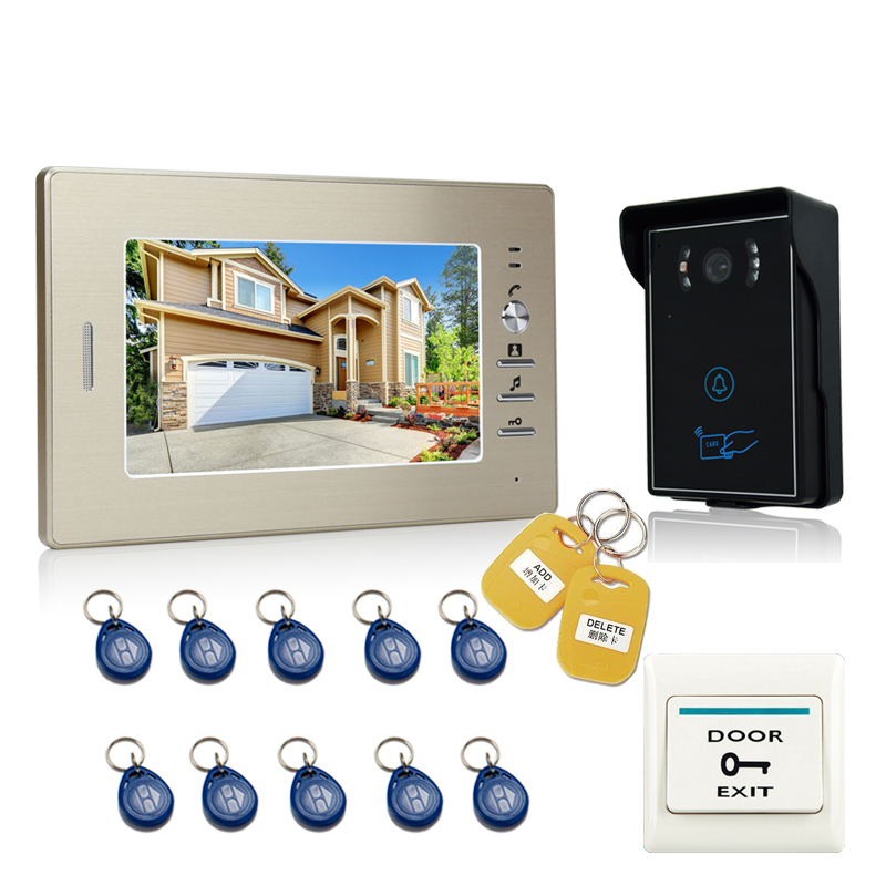 JEX NEW 7`` LCD Video Doorbell Intercom Entry Door Phone System 700TVL Touch Key Waterproof RFID Access Camera In stock