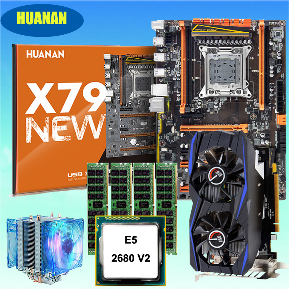 Discount HUANANZHI Deluxe X79 Gaming Motherboard Bundle With CPU Xeon E5 2680 V2 With Cooler RAM 64G(4*16G) Video Card GTX960 2G