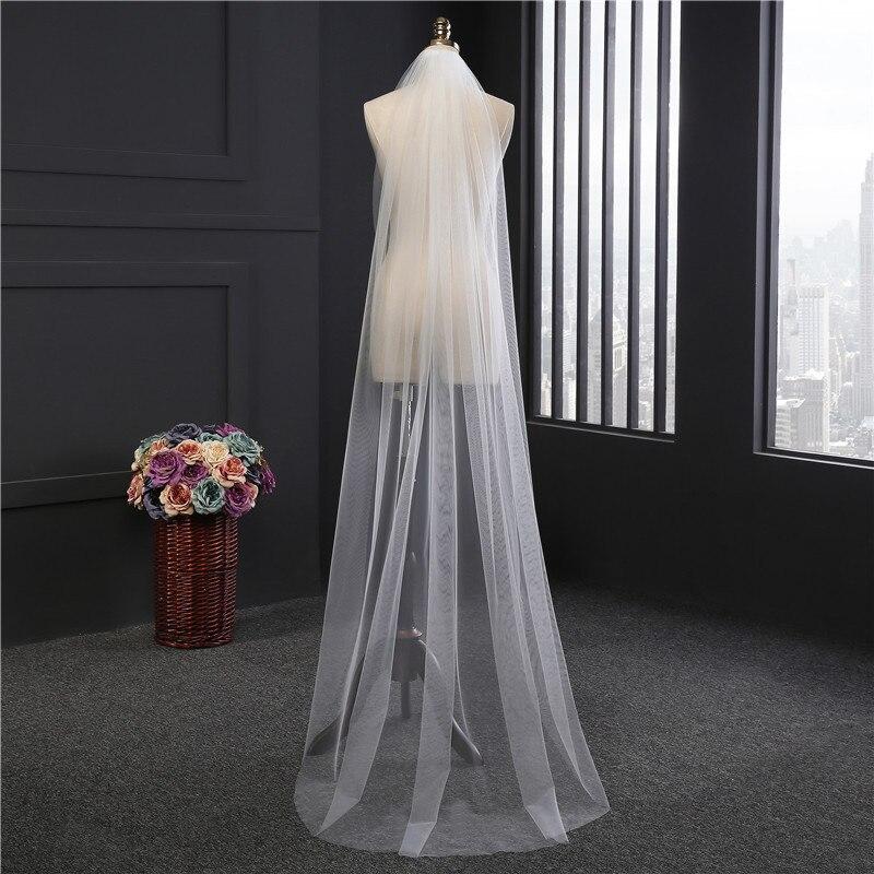 Real Photos 2M One Layer Wedding Veil Multi-layer Long Bridal Veil Head Veil Wedding Accessories Hot Sell EE9014