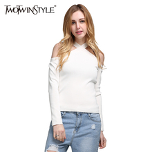 TWOTWINSTYLE Off Shoulder Sexy Knitted Women's T-shirt Halter V Neck Knitting Tops Long Sleeves Black White Clothes Korean 2018